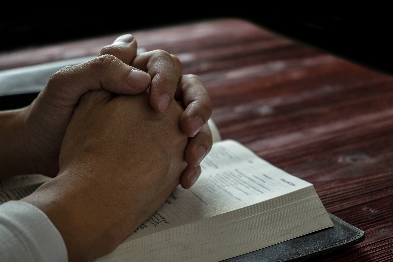 Man Praying To God With His Bible, Prayer With Reading The Bible