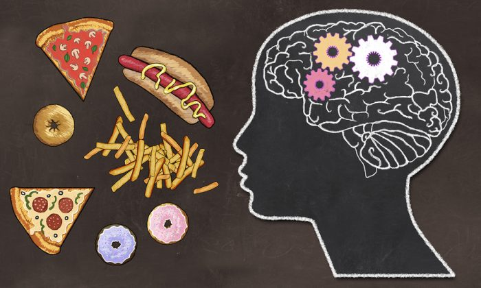 Addiction Illustrated With Fast Food And Brain Activity In Class