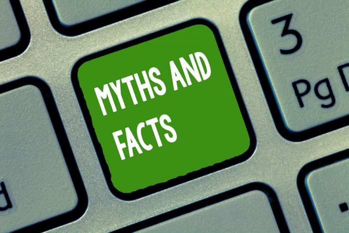 Handwriting Text Myths And Facts. Concept Meaning Oppositive Con